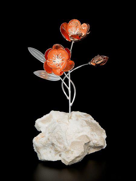Anemone 2 fiori su minerale