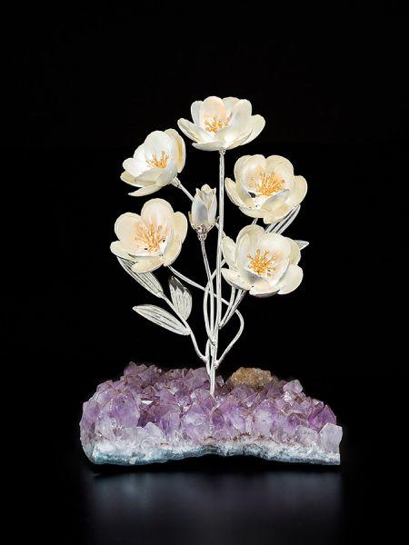 Anemone a 5 fiori su minerale